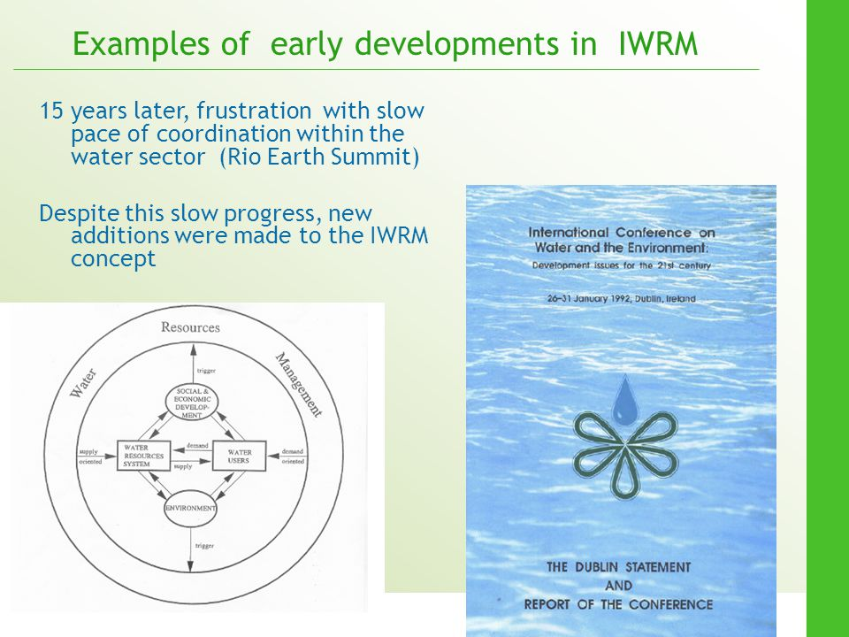 Examples of early developments in IWRM
