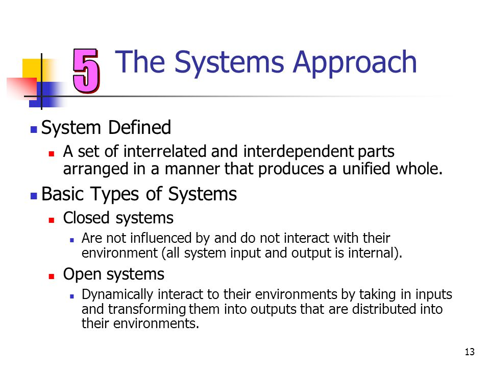The Systems Approach 5 System Defined Basic Types of Systems