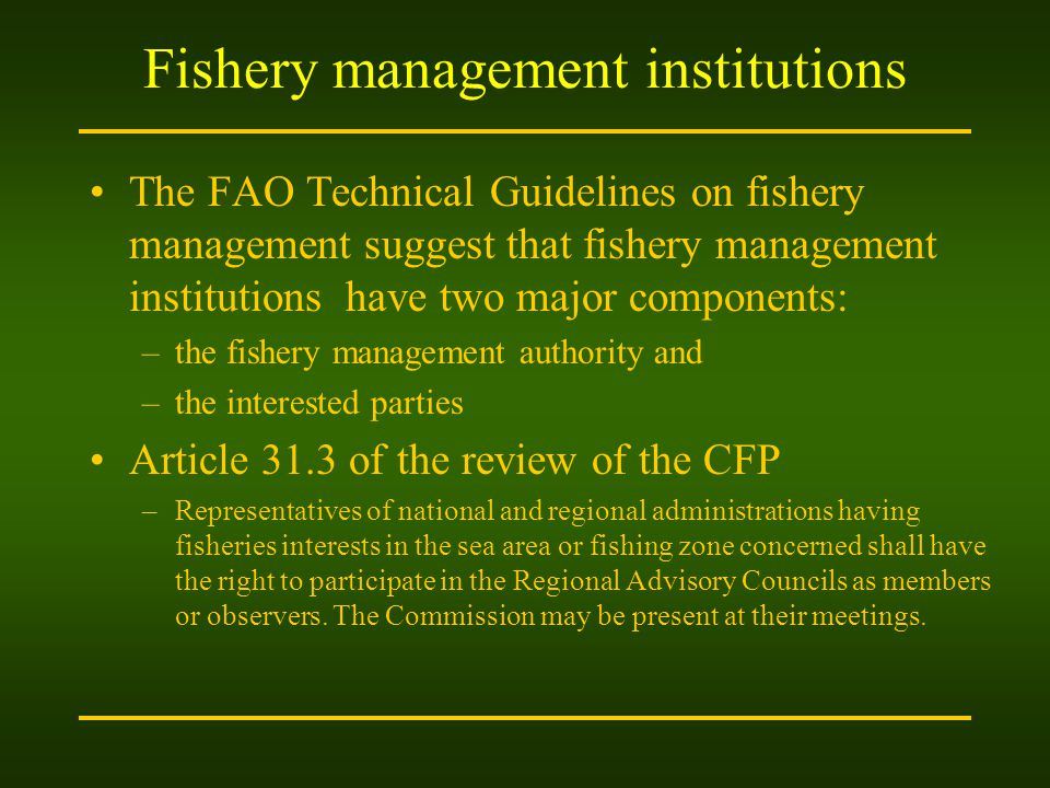 Fishery management institutions