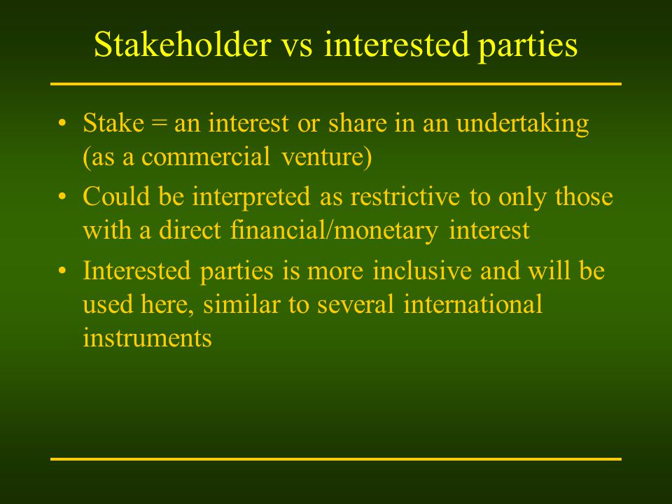 Stakeholder vs interested parties