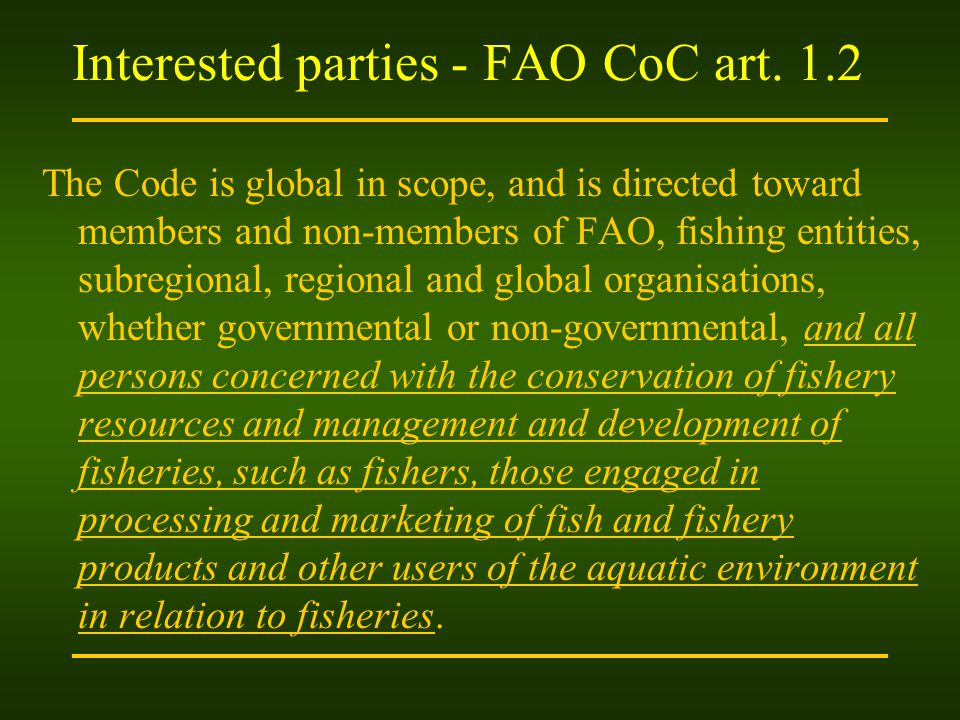 Interested parties - FAO CoC art. 1.2