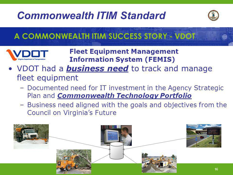 A COMMONWEALTH ITIM SUCCESS STORY - VDOT