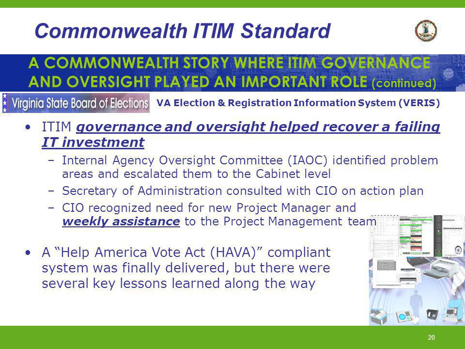 A COMMONWEALTH STORY WHERE ITIM GOVERNANCE AND OVERSIGHT PLAYED AN IMPORTANT ROLE (continued)