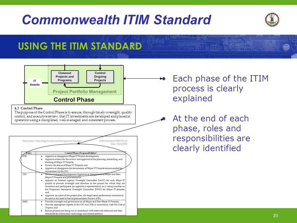 USING THE ITIM STANDARD
