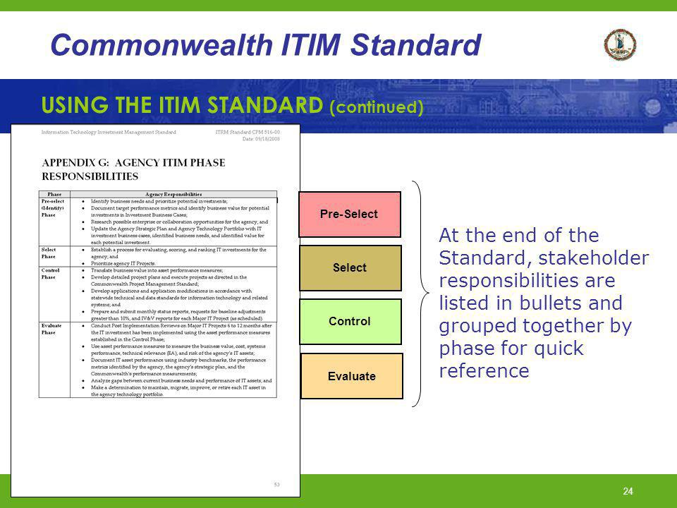 USING THE ITIM STANDARD (continued)