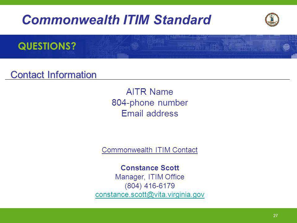 Commonwealth ITIM Contact
