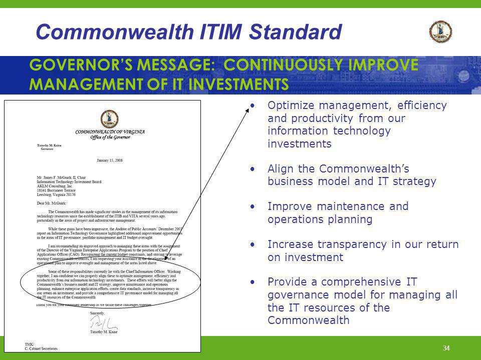 GOVERNOR'S MESSAGE: CONTINUOUSLY IMPROVE MANAGEMENT OF IT INVESTMENTS