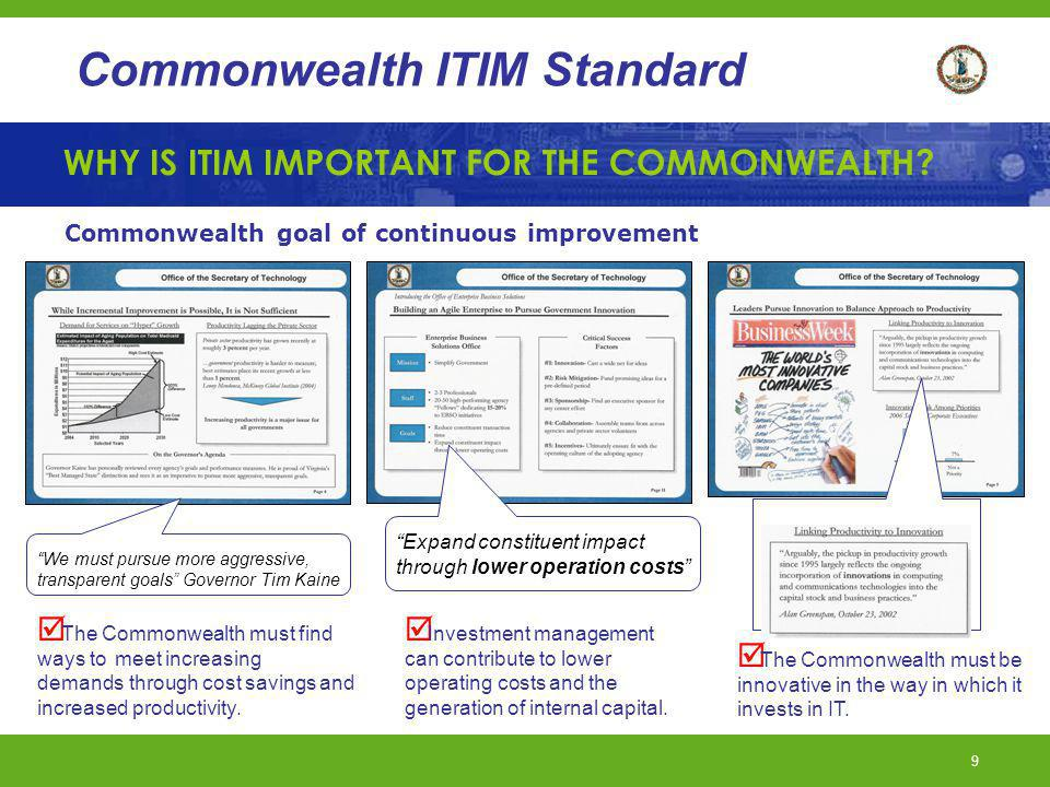 WHY IS ITIM IMPORTANT FOR THE COMMONWEALTH