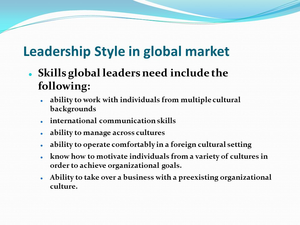 Leadership Style in global market