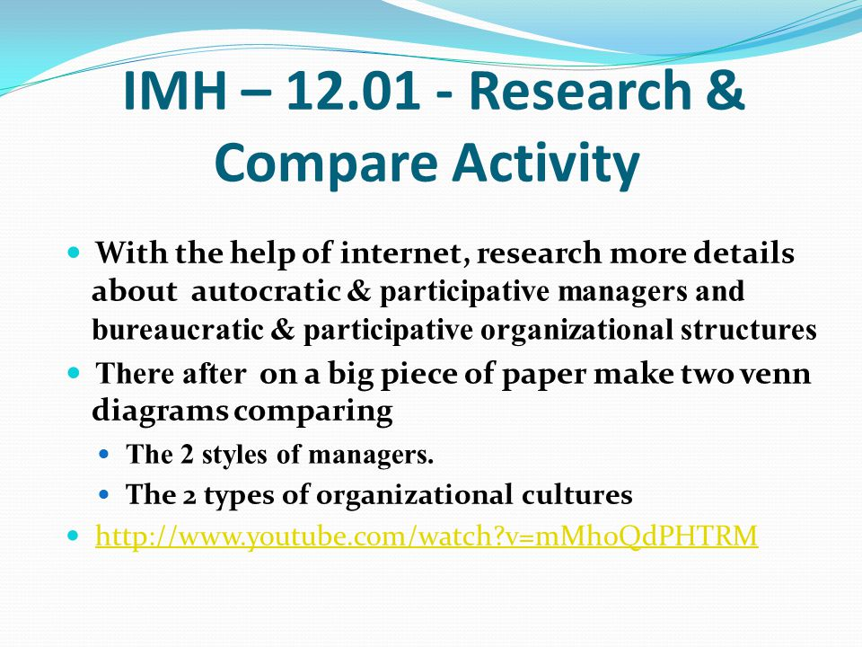 IMH – 12.01 - Research & Compare Activity