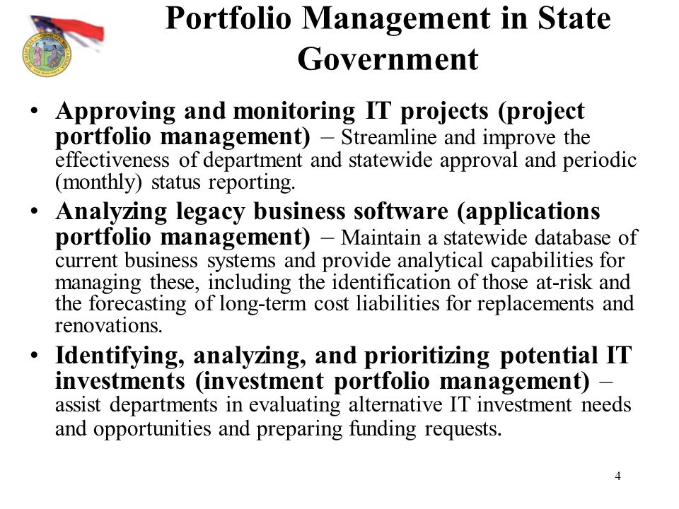 Portfolio Management in State Government