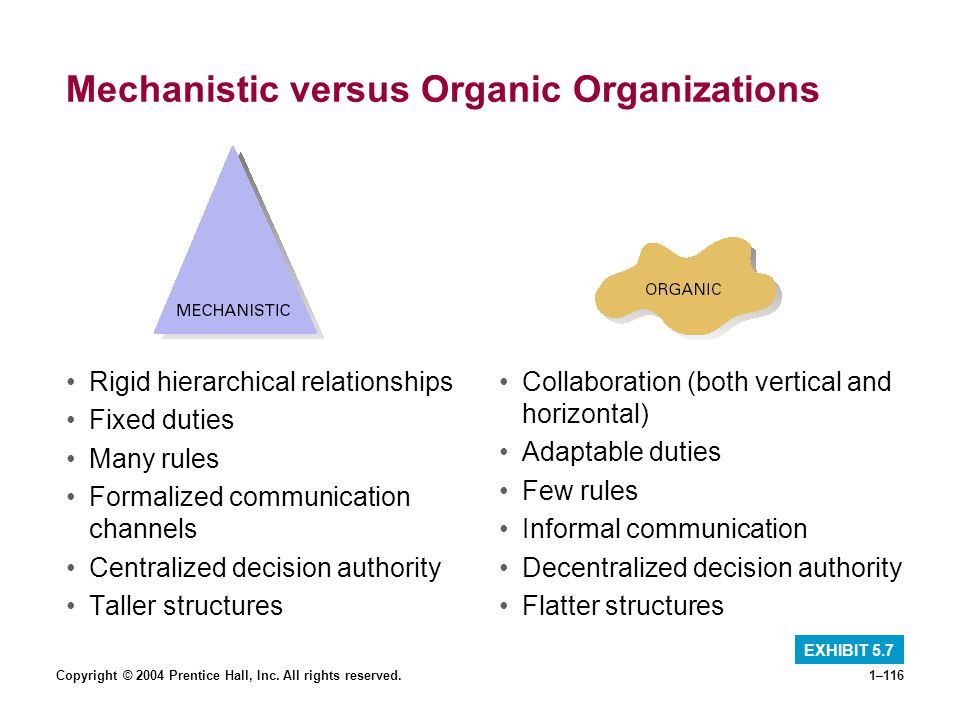 Mechanistic versus Organic Organizations