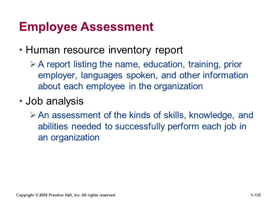 Employee Assessment Human resource inventory report Job analysis