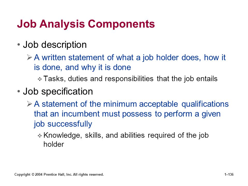 Job Analysis Components