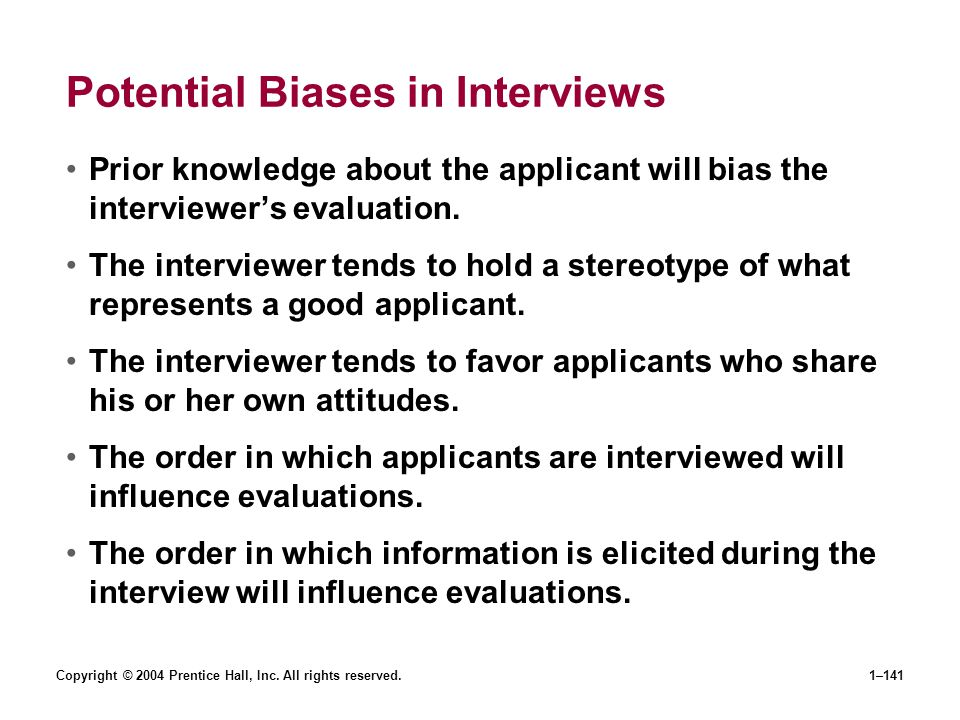 Potential Biases in Interviews
