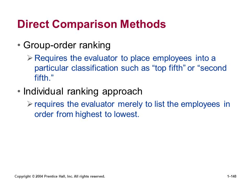 Direct Comparison Methods
