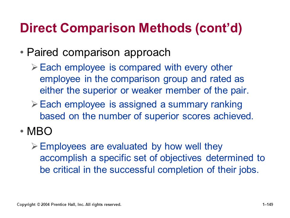 Direct Comparison Methods (cont'd)