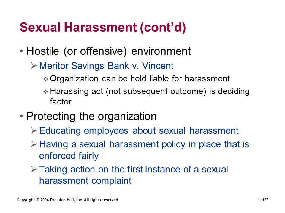 Sexual Harassment (cont'd)