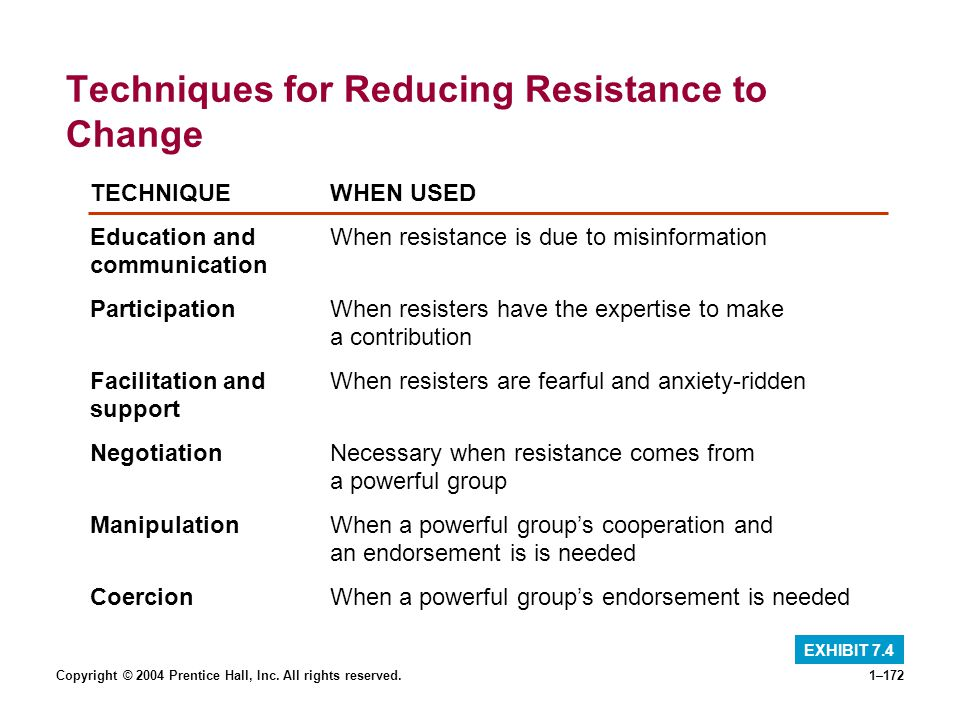 Techniques for Reducing Resistance to Change