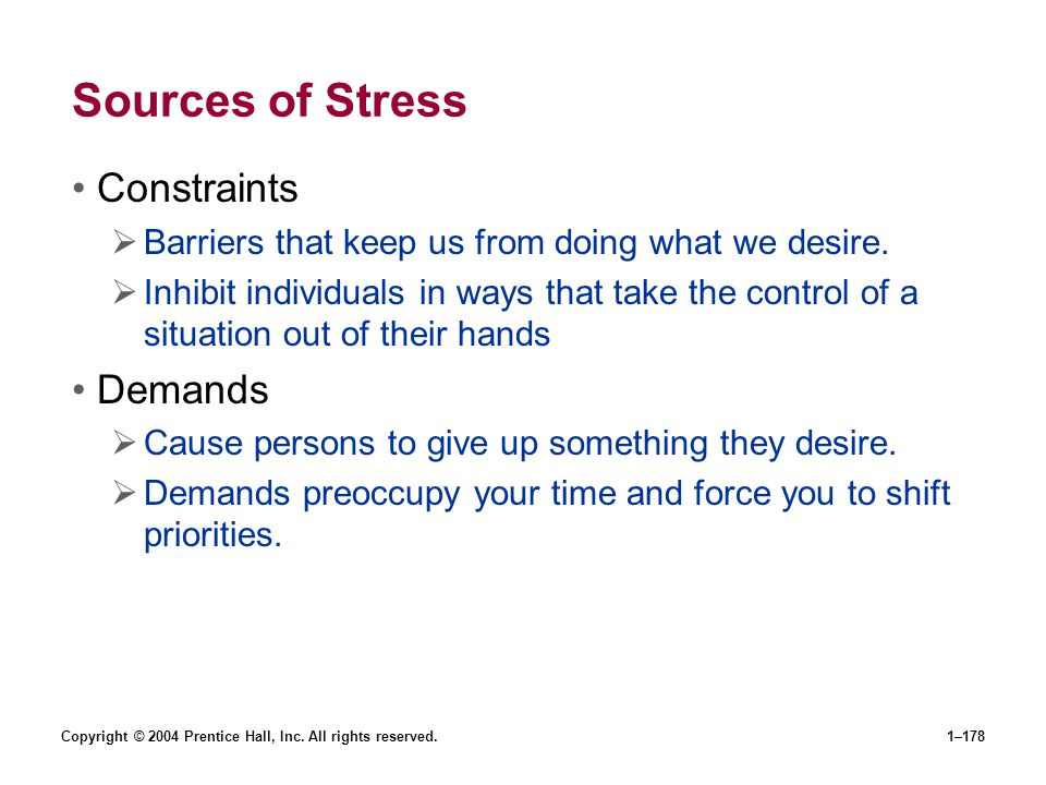 Sources of Stress Constraints Demands