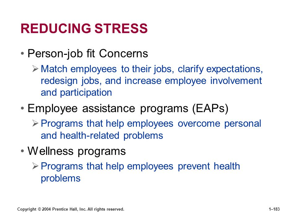 REDUCING STRESS Person-job fit Concerns