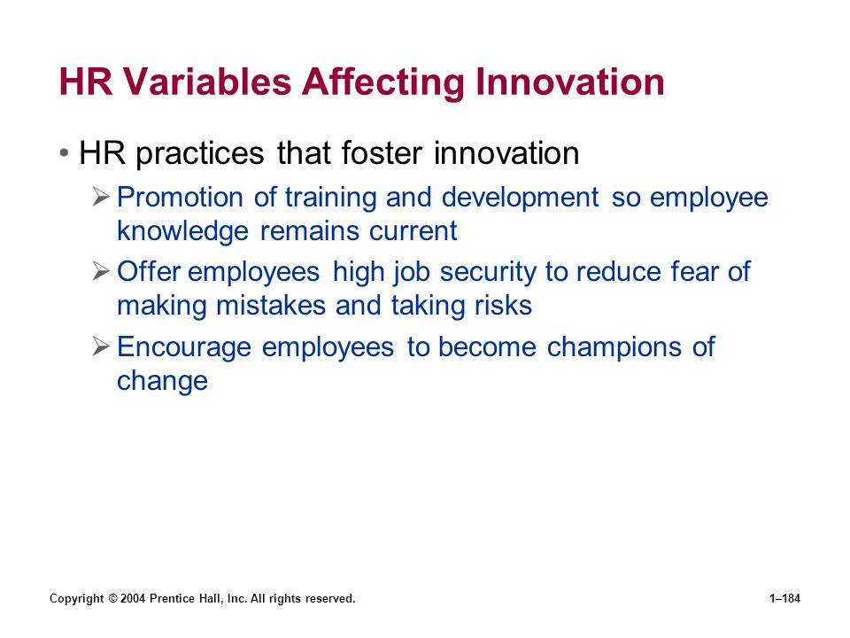 HR Variables Affecting Innovation