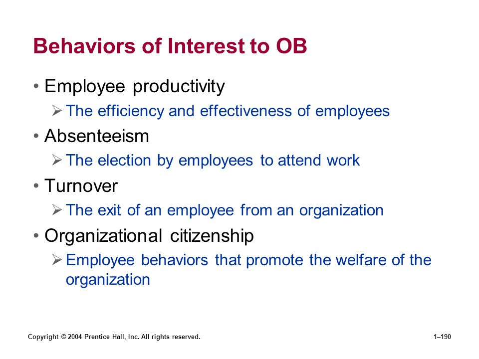 Behaviors of Interest to OB