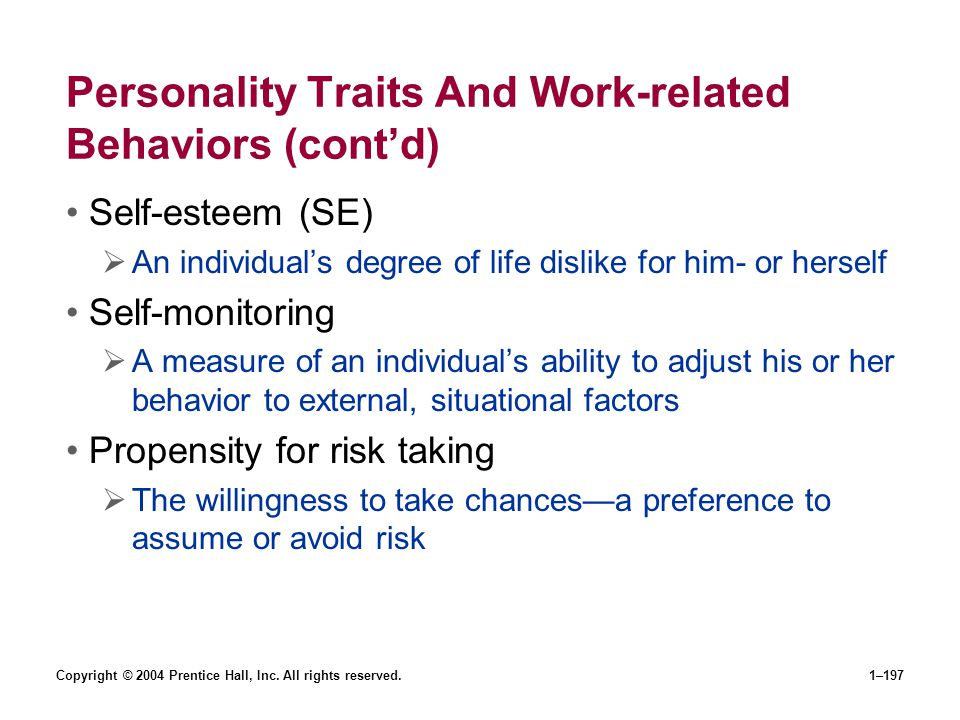Personality Traits And Work-related Behaviors (cont'd)