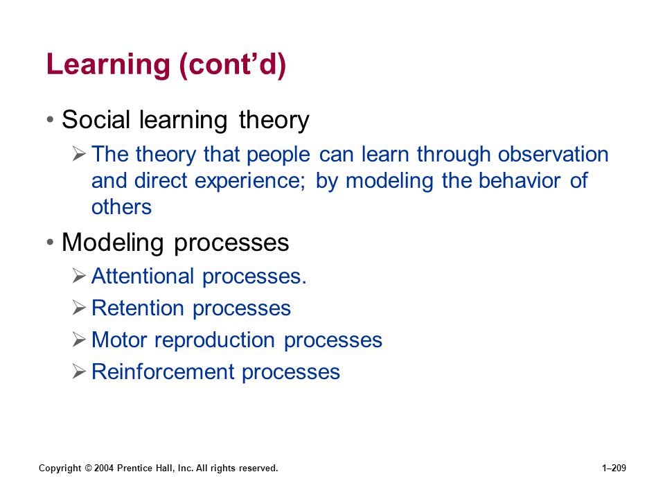 Learning (cont'd) Social learning theory Modeling processes