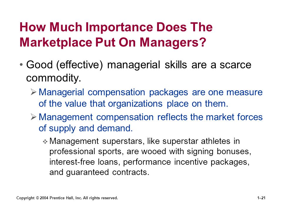 How Much Importance Does The Marketplace Put On Managers