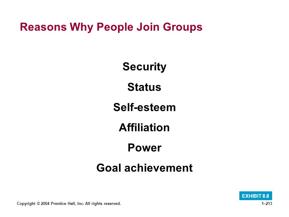 Reasons Why People Join Groups