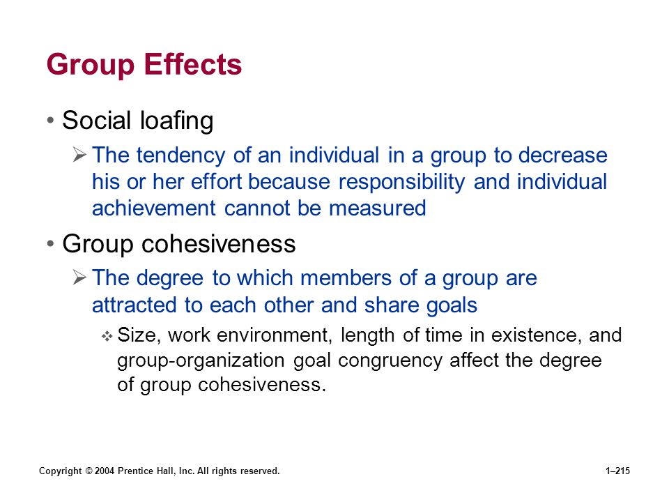Group Effects Social loafing Group cohesiveness