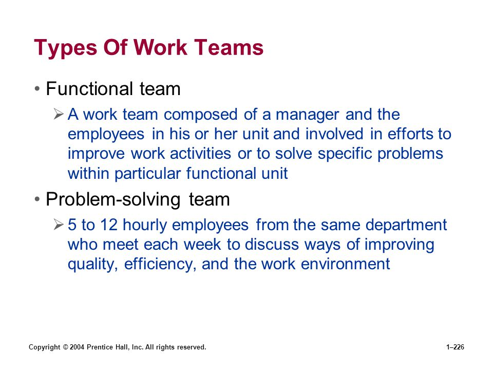 Types Of Work Teams Functional team Problem-solving team