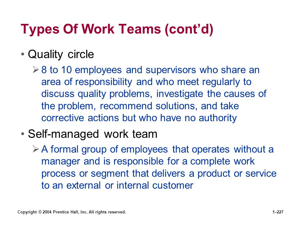 Types Of Work Teams (cont'd)