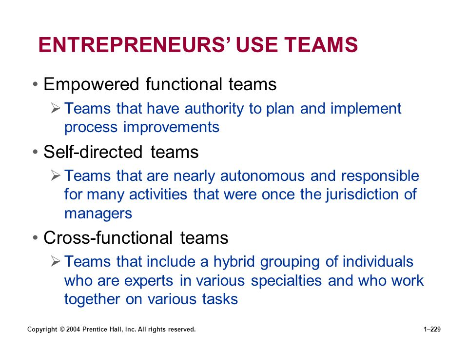 ENTREPRENEURS' USE TEAMS