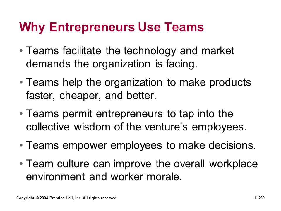 Why Entrepreneurs Use Teams