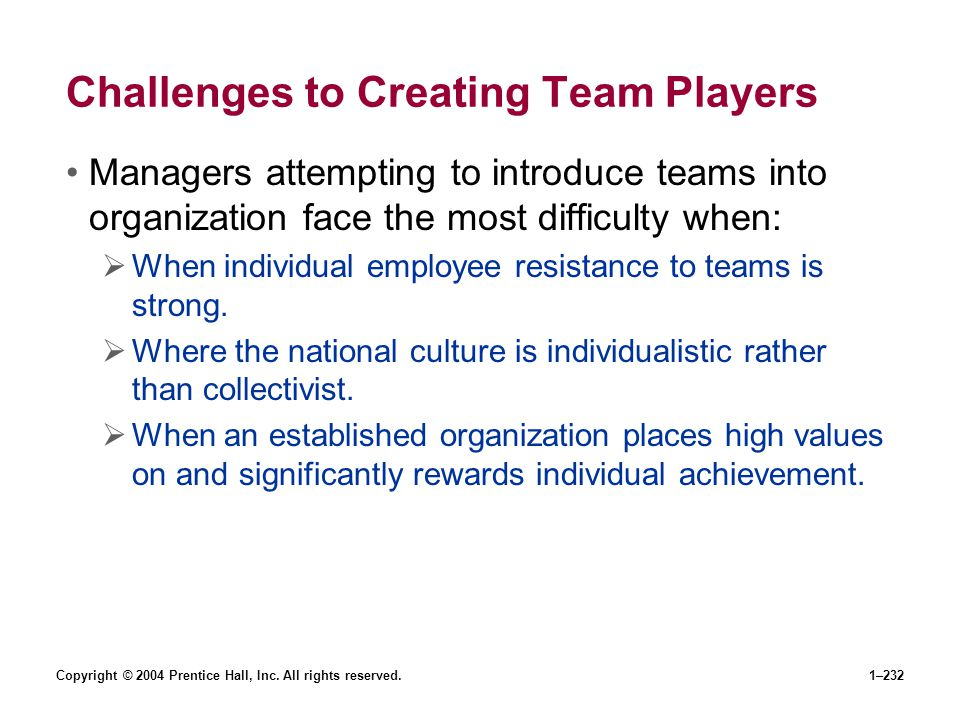 Challenges to Creating Team Players