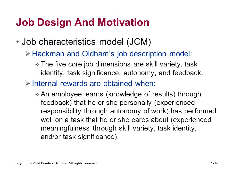 Job Design And Motivation