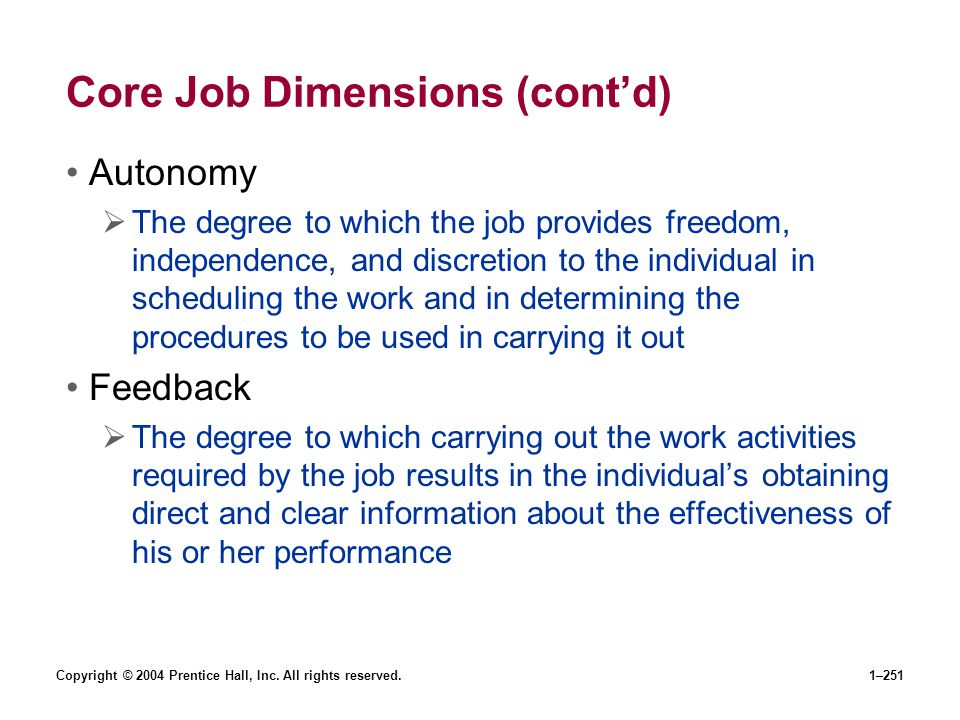 Core Job Dimensions (cont'd)