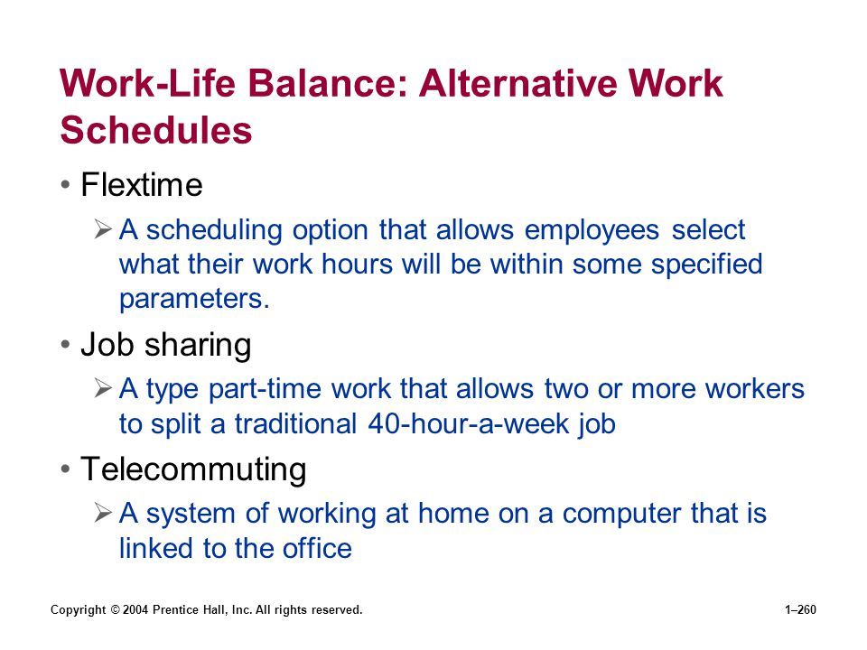 Work-Life Balance: Alternative Work Schedules
