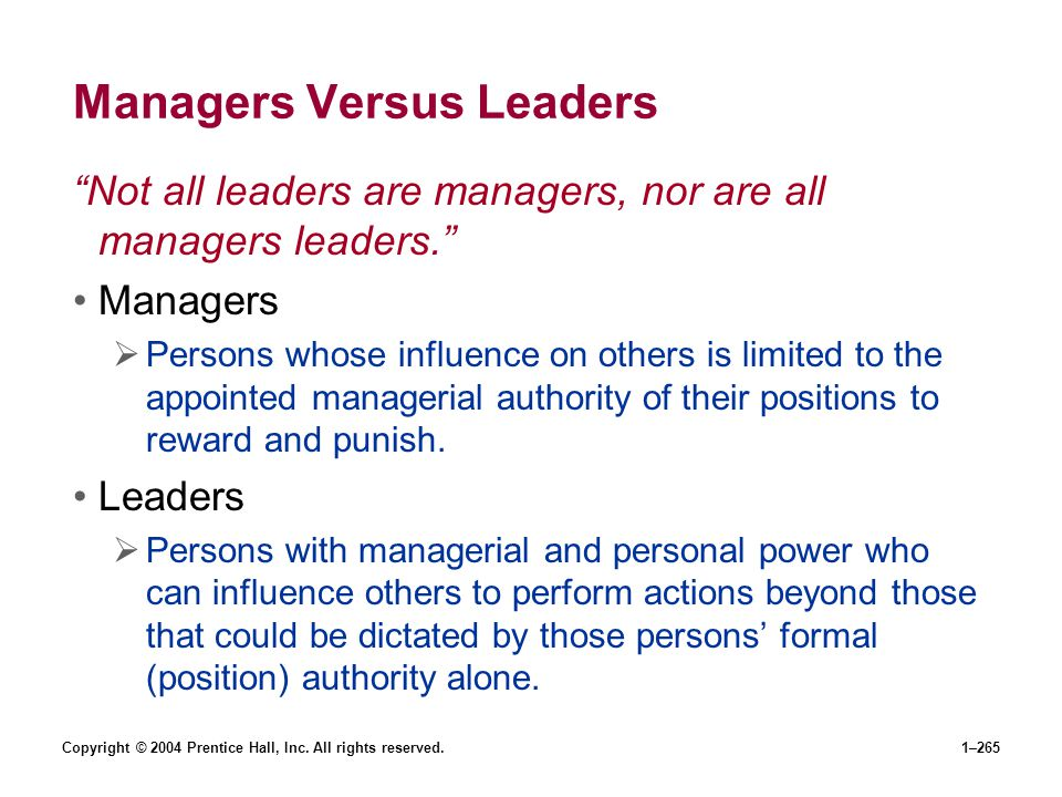 Managers Versus Leaders