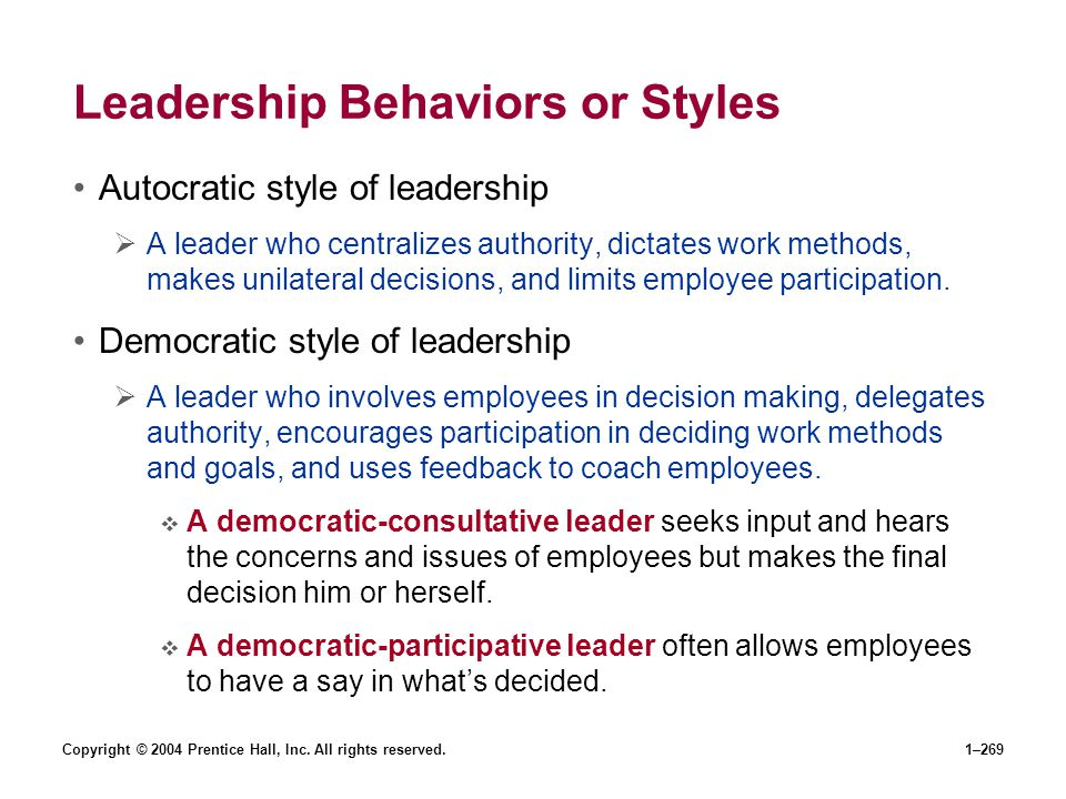 Leadership Behaviors or Styles