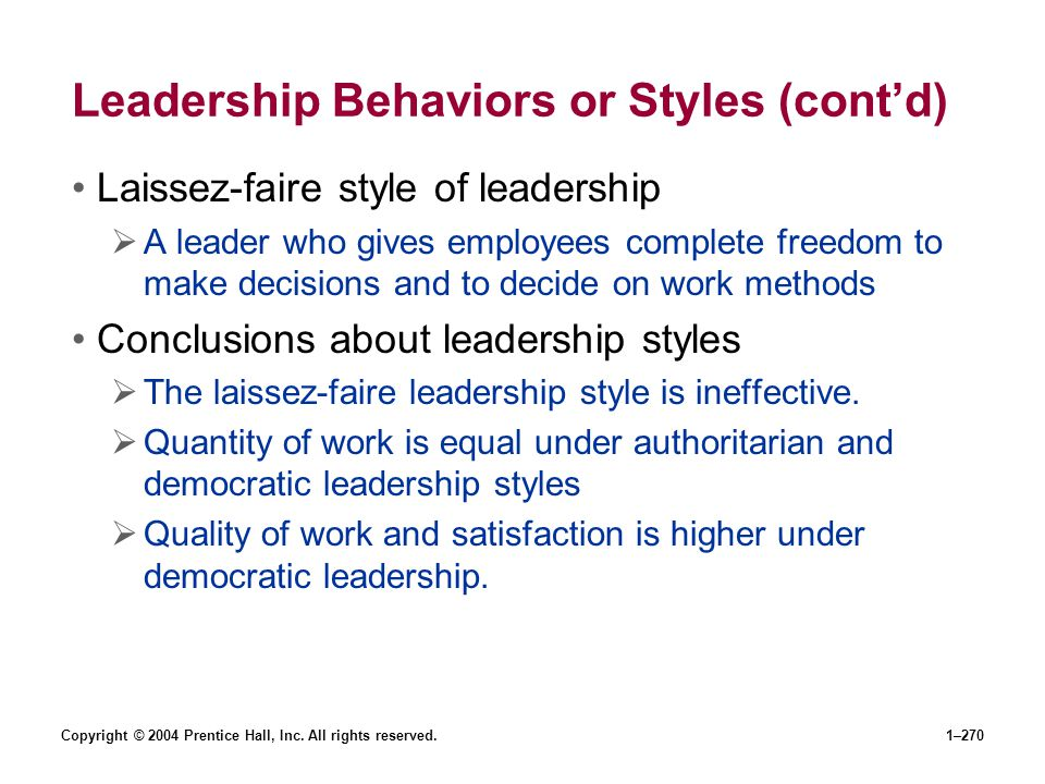 Leadership Behaviors or Styles (cont'd)