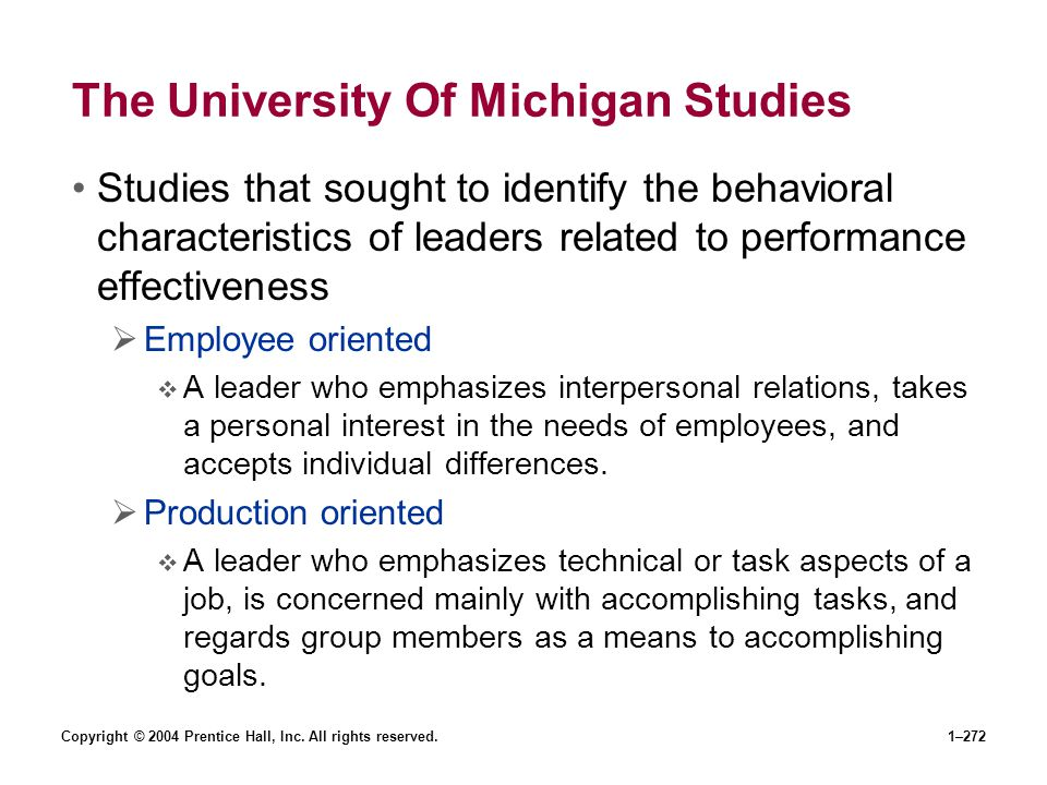 The University Of Michigan Studies