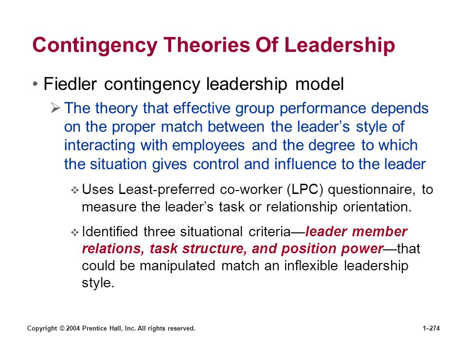 Contingency Theories Of Leadership
