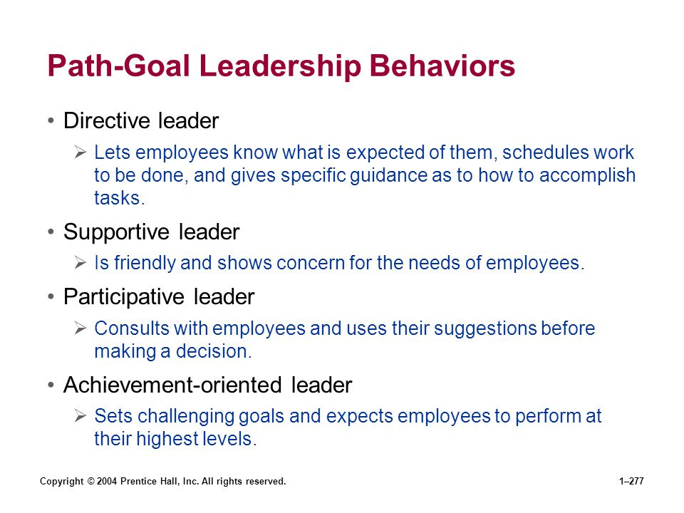 Path-Goal Leadership Behaviors