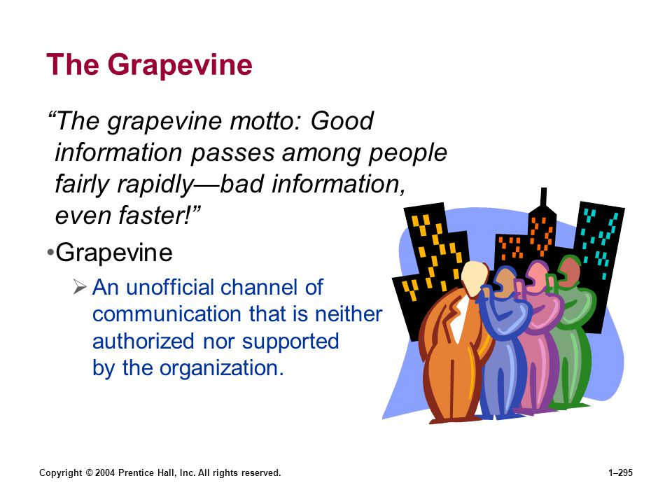 The Grapevine The grapevine motto: Good information passes among people fairly rapidly—bad information, even faster!