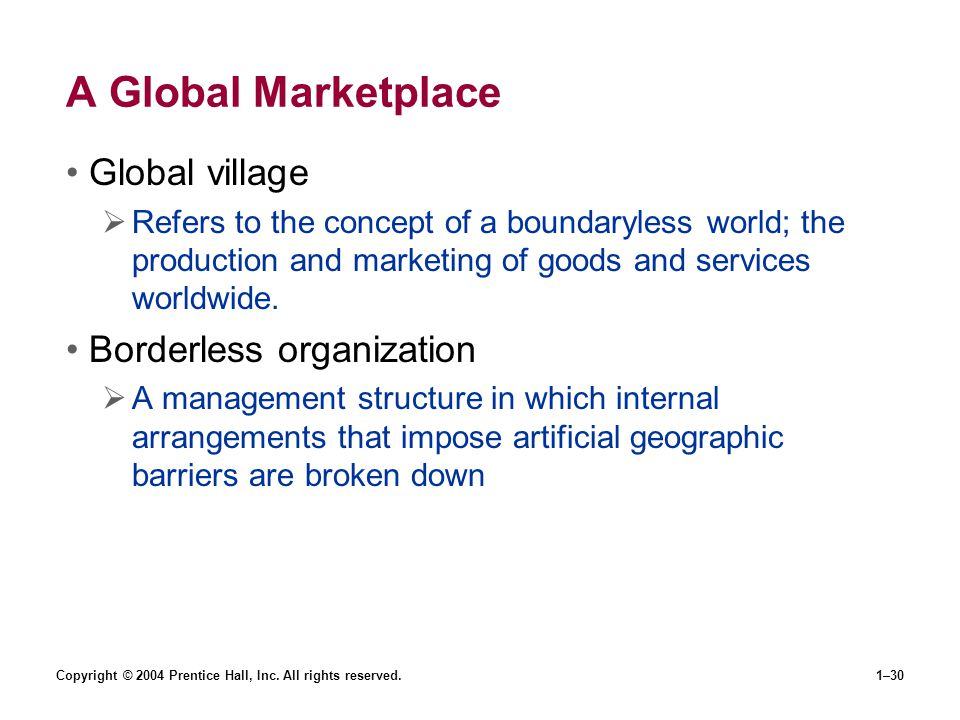 A Global Marketplace Global village Borderless organization