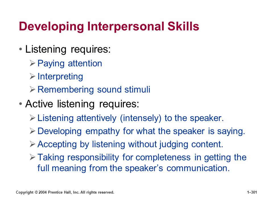 Developing Interpersonal Skills