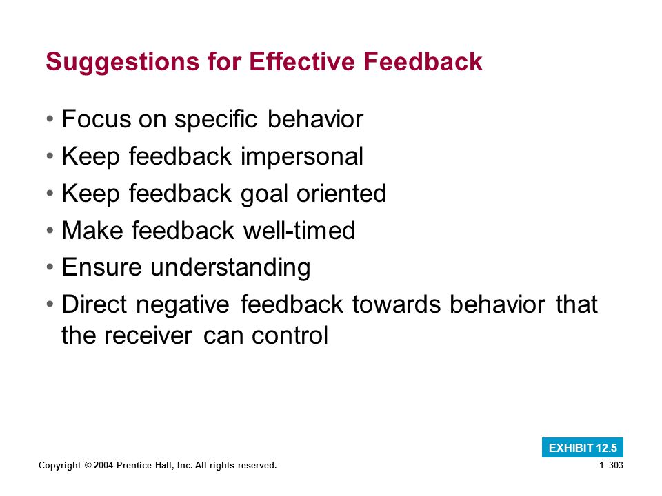 Suggestions for Effective Feedback
